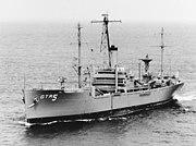USS Liberty (AGTR-5) underway in Chesapeake Bay on 29 July 1967 (K-39927)