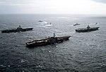 USS Midway (CV-41) Coral Sea (CV-43) and Enterprise (CVN-65) off Alaska 1983.JPEG