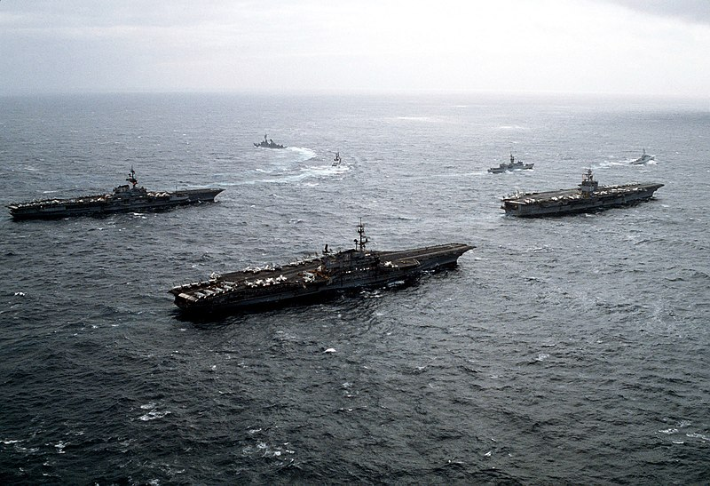 File:USS Midway (CV-41) Coral Sea (CV-43) and Enterprise (CVN-65) off Alaska 1983.JPEG