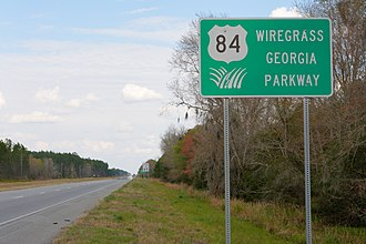 U.S. Route 84 in Georgia - Wiregrass Georgia Parkway sign in Clinch County