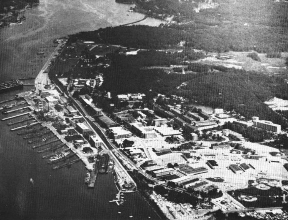 US Naval Submarine Base New London aerial photo c1968