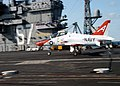 US Navy 040417-N-4565G-001 Lt.j.g. Julin Rosemand, assigned to Fixed Wing Training Squadron One (VT-1), completes a successful landing in a T-45C Goshawk aboard USS John F. Kennedy (CV-67).jpg