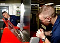 US Navy 041103-N-2805L-044 Aviation Electronics Technician 1st Class Tony Bond, left, teaches Aviation Electronics Technician Airman Robert Potts, right, how to fold metal sheets in the metal shop.jpg
