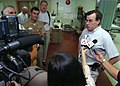 US Navy 050129-N-8629M-167 U.S. Ambassador to Republic of Singapore, the Honorable Frank Lavin, talks with media after a tour of the Military Sealift Command hospital ship USNS Mercy (T-AH 19).jpg