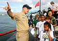 US Navy 050214-N-5539C-001 Lt.j.g. Scott Washburn gives a tour of the Los Angeles-class attack submarine USS Louisville (SSN 724) to 25 Punahou Elementary School third graders on board Naval Station Pearl Harbor, Hawaii.jpg