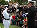 US Navy 050709-N-0050T-079 An Honor Guard member presents the casket flag of Senior Chief (SEAL) Daniel R. Healy to Commander Naval Special Warfare Command, Vice Adm. Albert M. Calland III.jpg