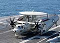 US Navy 060304-N-9585B-005 An E-2C Hawkeye taxi on the flight deck aboard the Nimitz-class aircraft carrier USS Dwight D. Eisenhower (CVN 69).jpg