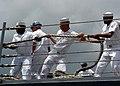 US Navy 060505-N-9643K-025 Sailors heave around on a mooring line as guided-missile frigate USS Crommelin (FFG 37) departs Pearl Harbor.jpg