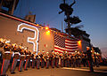 US Navy 060528-N-1371G-247 On the flight deck aboard the amphibious assault ship USS Kearsarge (LHD 3), the Second Marine Aircraft Wing Band provides entertainment for Sailors and Marines and invited guests of New York City.jpg