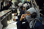 US Navy 090317-N-5251G-844 Phone talkers wait for departments to call Damage Control Central to report the setting of material condition Zebra aboard the aircraft carrier USS Ronald Reagan (CVN 76).jpg
