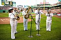 US Navy 090703-N-3271W-049 Musicians from the U.S. Navy Band Northeast Jazz ensemble perform the national anthem prior to a Boston Red Sox vs. Seattle Mariners game at Fenway Park.jpg