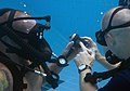 US Navy 110323-N-OT964-104 Navy divers assigned to Mobile Diving and Salvage Unit (MDSU) 2, check their gauges during a training dive to familiariz.jpg
