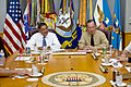 US Navy 110701-N-TT977-038 Secretary of Defense Leon E. Panetta, left, speaks with Chairman of the Joint Chiefs of Staff Adm. Mike Mullen.jpg