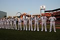 US Navy 110902-N-MZ294-335 Sailors assigned to Navy Recruiting District St. Louis man the third base line before members of the 53rd Cardinal Compa.jpg