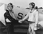 US Navy Lieutenant John A. Leppla and Radioman 3rd Class J.A. Liska at NAS North Island on 6 July 1942.jpg