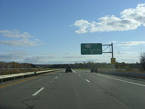 U.S. Route 219 in New York - US 219 southbound at the interchange with NY 179 (Mile Strip Road) in Orchard Park