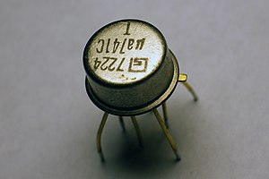 Operational amplifier - A μA741 integrated circuit, one of the most successful operational amplifiers