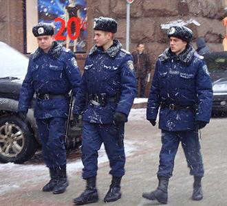 Militsiya (Ukraine) - Officers from the Militsiya's public order department patrol Khreshchatyk Street in central Kiev.