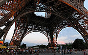 Panoramic view from underneath the Eiffel Tower.