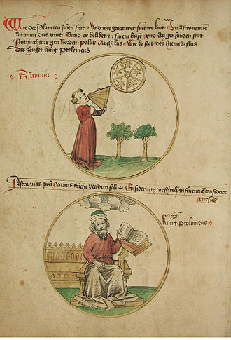 Tetrabiblos - 15th-century manuscript illustration of astronomy as one of the seven liberal arts, showing Ptolemy as its patron.