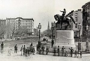 Union Square, Manhattan - George Washington (Henry Kirke Brown, 1856) in the middle of Fourth Avenue at 14th Street, c.1870