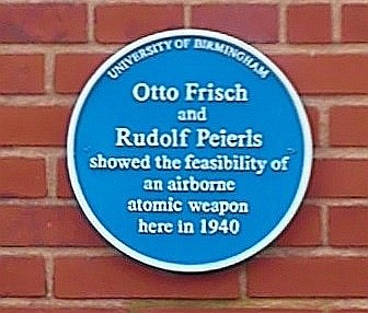 University of Birmingham - Poynting Physics Building - blue plaques group - Frisch Peierls