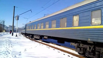 Файл:VL10-1484 with passenger train departs from Truskavets.webm