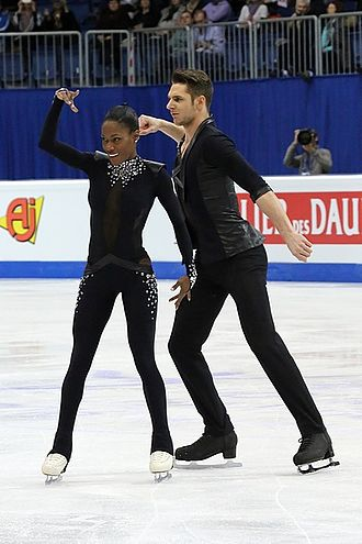 Pair skating - French pair team Vanessa James and Morgan Ciprès perform their free skating program at the 2016 European Championships