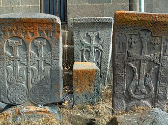 Vardenis - Medieval khachkars near the town's church