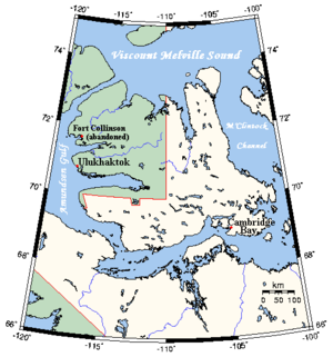 70th parallel north - On Victoria Island, Canada, part of the border between Northwest Territories (green) and Nunavut (white) is defined by the 70th parallel north