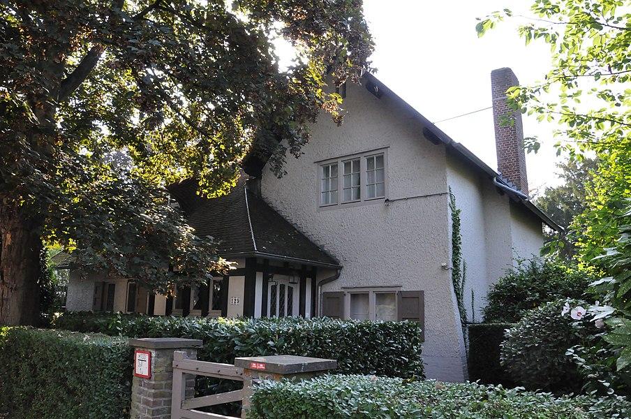 "Villa in cottage style ""Villa in cottagestijl"" at Hovestraat 129, Edegem, Antwerp, Belgium. Built around 1910."