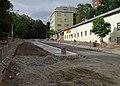Vinohrady, Bělehradská, rekonstrukce TT, zastávka Pod Karlovem.jpg