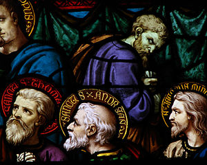 Jesus predicts his betrayal - Detail of Stained glass window depicting Judas Iscariot turning away from the Last Supper, Moulins Cathedral, France.