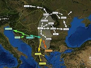 Vlachs - Vlach (Romanian) branches and their territories