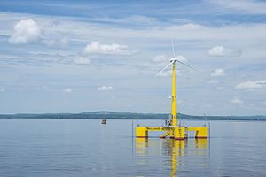 Floating wind turbine - University of Maine's VolturnUS 1:8 was the first grid-connected offshore wind turbine in the Americas.