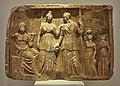 Votive relief with Pluto, Persephone and Demeter (4th – 3rd cent. B.C.) in the National Archaeological Museum of Athens on 22 July 2018.jpg