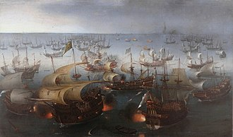 Day seven of the battle with the Armada, 7 August 1588, by Hendrick Cornelisz Vroom, 1601 Vroom Hendrick Cornelisz Battle between England and Spain 1601.jpg
