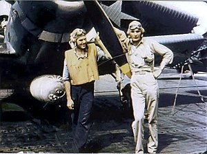 Battle of Midway - Ensign George Gay (right), sole survivor of VT-8's TBD Devastator squadron, in front of his aircraft, 4 June 1942