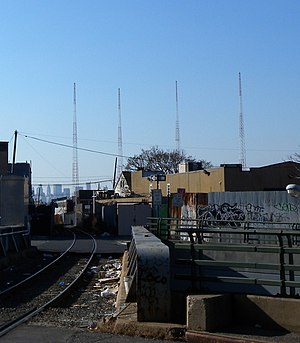 WFME (AM) - Transmitting towers, located in Maspeth, Queens.