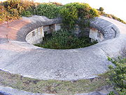 A disappearing gun emplacement at Henry Head Battery, La Perouse, New South Wales, Australia.