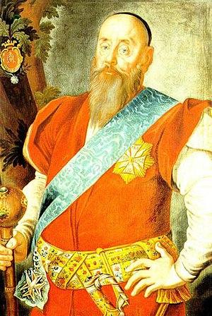Pas kontuszowy - Wacław Rzewuski wearing a golden-finished kontusz sash