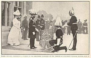 Shropshire Yeomanry - King George V presents a guidon to the Shropshire Yeomanry (1911).