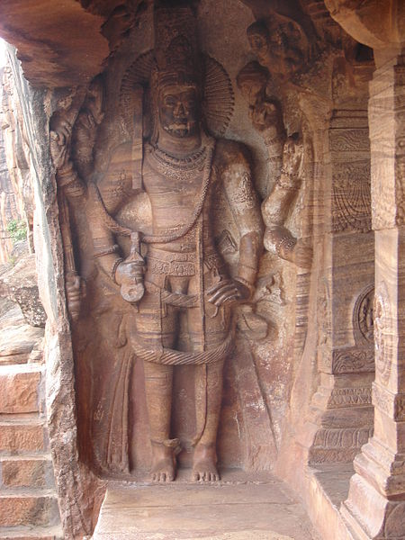 File:Wall relief in the Vaishnava cave temple no 3 in Badami.JPG