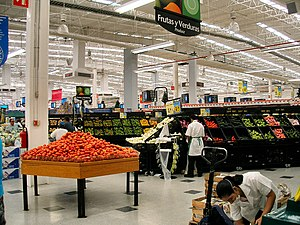 Hypermarket - The produce section of a typical Walmart Supercenter (Walmart's hypermarket brand) in Mexico