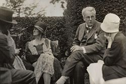 Walter de la mare, bertha georgie yeats (née hyde lees), william butler yeats, unknown woman by lady ottoline morrell