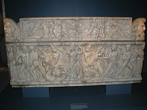 Phoebe (Leucippid) - Roman sarcophagus with Castor and Pollux seizing Phoebe and Hilaeira, ca. 160.