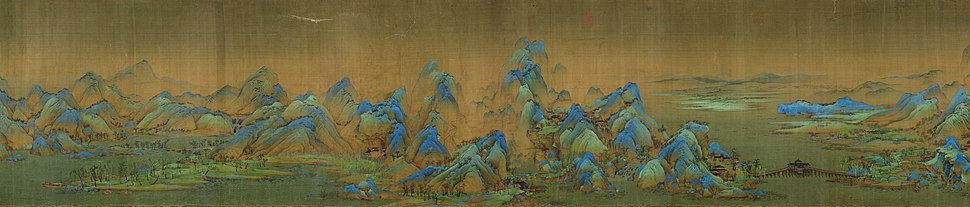 Works of art can tell stories or simply express an aesthetic truth or feeling. Panorama of a section of A Thousand Li of Mountains and Rivers, a 12th-century painting by Song dynasty artist Wang Ximeng.
