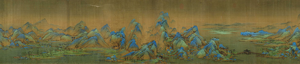A section of A Thousand Li of Rivers and Mountains section. Color on silk. Palace Museum, Beijing.