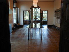 "The dining room of the Wannsee villa, where the Wannsee conference took place. The 15 men seated at the table on January 20, 1942 to discuss the ""final solution of the Jewish question"" were considered the best and the brightest in the Reich."