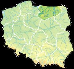 województwo warmińsko-mazurskie na mapie Polski